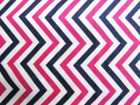 Great value Chevron Stripe Cotton- Pink / Navy #PW1020 available to order online Australia