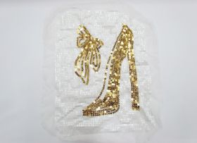 Great value Heel & Bow Sequin Motif- White/Gold available to order online Australia
