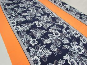 Great value 1.5m Panel- Island Floral Spandex- Navy / Orange #4898 available to order online Australia