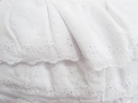 Great value 11cm Flower Garland Frill Broderie Anglaise Trim- White #251 available to order online Australia