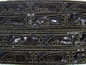 Great value Soft Paisley Sequin Trim- Black #3436 available to order online Australia