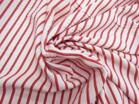 Great value Red Hot Stripe Viscose Blend Twill #5504 available to order online Australia