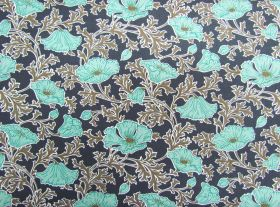 Great value Liberty Cotton- Beatrice Poppy- Light Teal- The Winterbourne Collection available to order online Australia