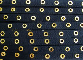 Great value 16mm Cotton Eyelet Tape- Navy/Gold #436 available to order online Australia