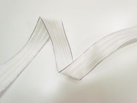 Great value 38mm Royal Taffeta Wide Stripe Ribbon- White/Candlelight available to order online Australia
