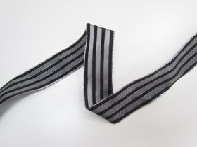 Great value 38mm Royal Taffeta Wide Stripe Ribbon- Black/Silver available to order online Australia