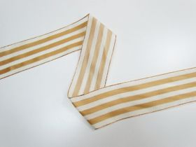 Great value 63mm Royal Taffeta Wide Stripe Ribbon- Ivory/Gold available to order online Australia
