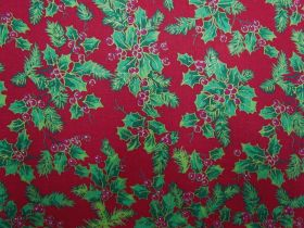 Great value Christmas Holly Cotton- Red #5728 available to order online Australia