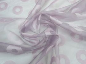 Great value ONE OFF Silk Organza- Lilac Circle- 2.3m Remnant Piece CL1044 available to order online Australia