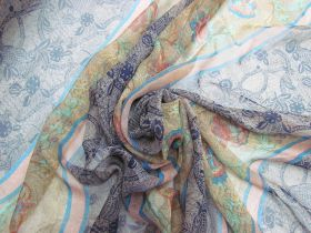 Great value Orchard Garden Silk Georgette- Blue Stripe #5877 available to order online Australia