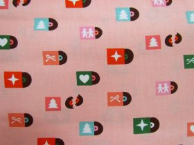 Great value Ruby Star Society Cotton- Flurry- Christmas Tunes- Peach Fizz #12 available to order online Australia