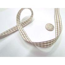 Gingham Ribbon 15mm- Latte