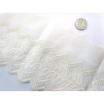 12cm Windswept Leaf Broderie Trim- Cream
