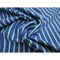 Sporty Stripe Cotton Knit- Aqua/Blue