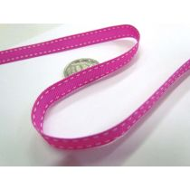 Stitch Ribbon 10mm- Bright Pink / White