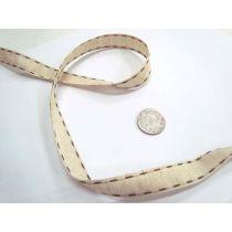 Stitch Natural Ribbon 15mm- Brown
