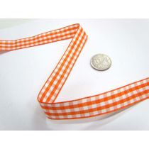 Gingham Ribbon 15mm- Orange