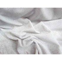 Glitter Dot Stretch Velvet- White
