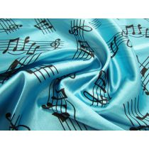 Music Notes Satin- Aqua
