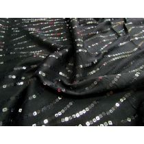 Sequin Streams Embroidered on Jersey- Soft Black
