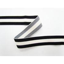 30mm Thick Triple Stripe Elastic- Black/Cream