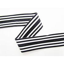 Soft Stripe Fold Over Elastic- White/Black