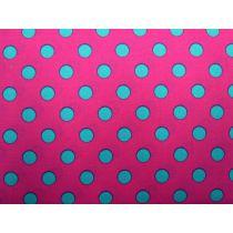 Colour Basic Big Spot Cotton- Aqua on Pink
