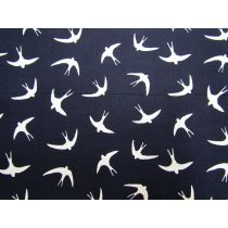 Swooping Sparrows Cotton- Navy