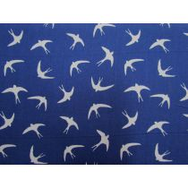 Swooping Sparrows Cotton- Royal