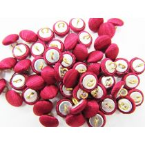 2 for $1.00 Fabric Covered Fashion Buttons- Deep Red Satin FB089