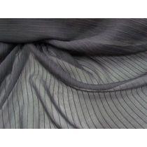 Self Stripe Silk Chiffon- Black