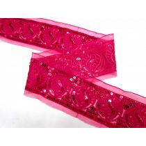 Sequined Seed Mesh Trim- Fuchsia