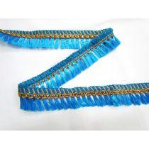 Gold Embroidered Tassel Trim- Aqua