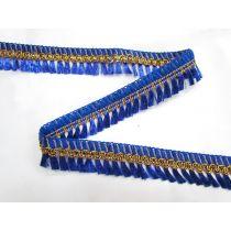 Gold Embroidered Tassel Trim- Royal
