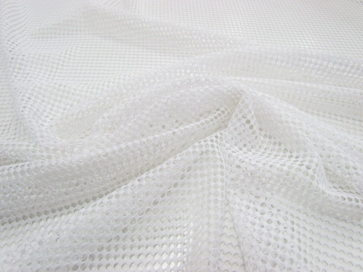 2way Stretch Checkerboard Mesh- Bright White | Online Fabric Store ...