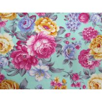 Bountiful Bouquet On Vibrant Aqua Cotton