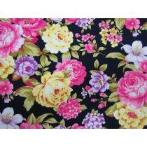 Bountiful Bouquet on Dark Navy Cotton