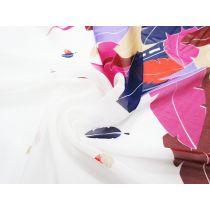 Bright Plumes Border Print Silk Chiffon