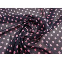 Spotted Chiffon- Pink on Black