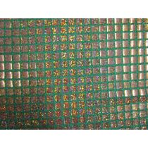 8mm Square Sequins- Gold on Green
