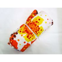 1m Precut Havaiana Floral Spandex Mini Roll- Yellow/Orange